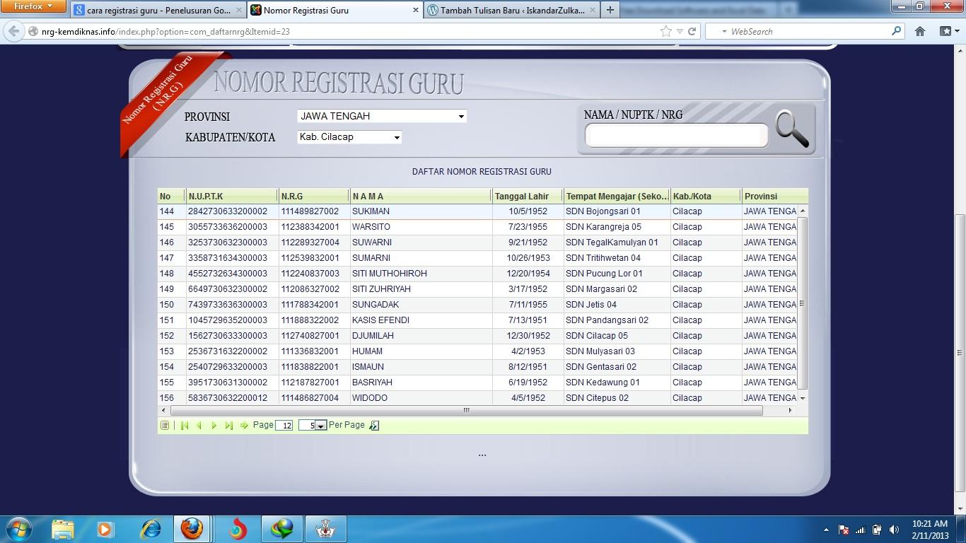 Nomor Registrasi Guru Nrg Kabupaten Kebumen